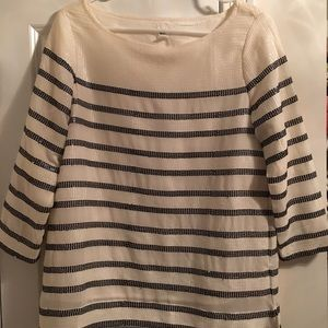 Gap ivory sequin blouse with navy sequin stripes